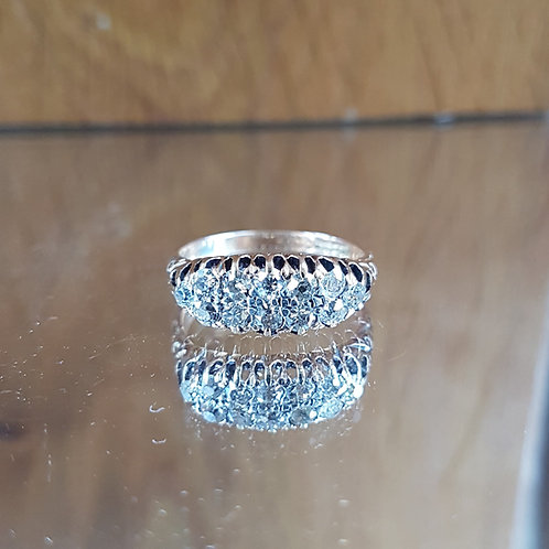 Stunning 18ct gold 1ct Edwardian Old Cut diamond cluster ring