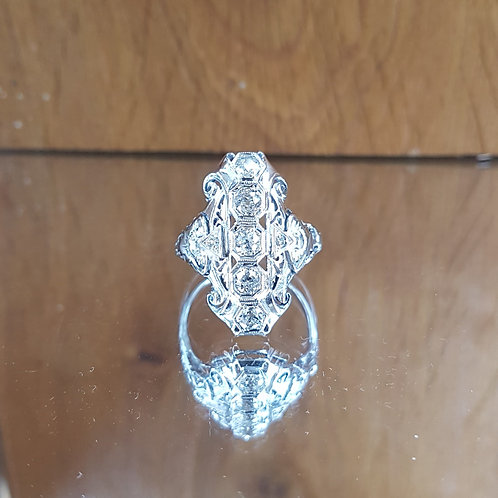 Stunning 14ct White gold Art Deco Panel 1ct Old cut diamond ring