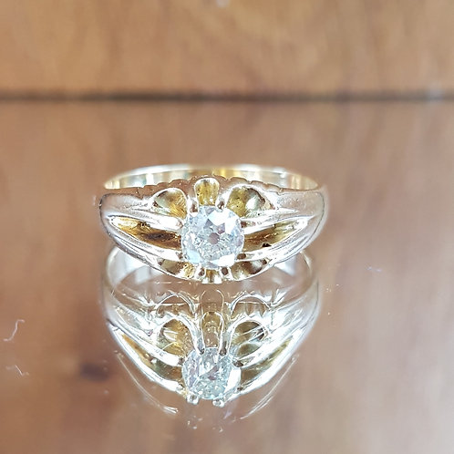 Stunning Heavy 18ct gold Old cut solitaire 0.80ct diamond ring