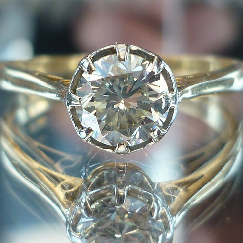 Stunning 18ct & Plat 1ct Old Transitional cut solitaire diamond ring