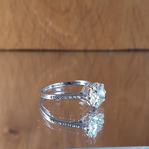 Exquisite Platinum 2.15ct OLD CUT solitaire diamond Heritage ring
