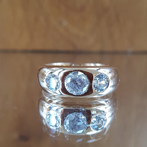 Exquisite Victorian 18ct Gold 2.25ct OLD CUT 3 diamond Gents ring FREE Sizing