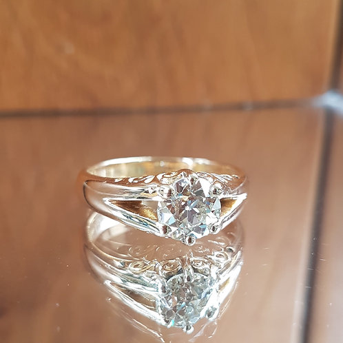 Exquisite Victorian C1896 18ct Gold 2.0ct OLD CUT solitaire diamond ring Sizing