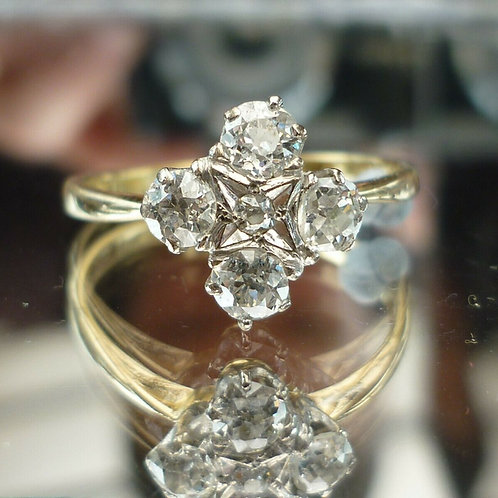Stunning 18ct gold 0.80ct 4 Old Cut diamond cluster ring.