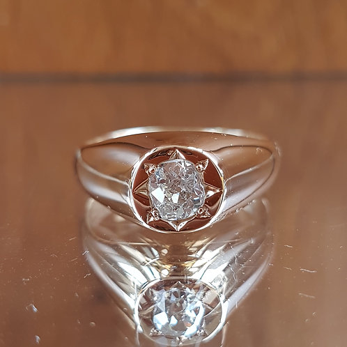 Exquisite VERY HEAVY GENTS 18ct Gold 0.80ct OLD MINE CUT solitaire diamond ring