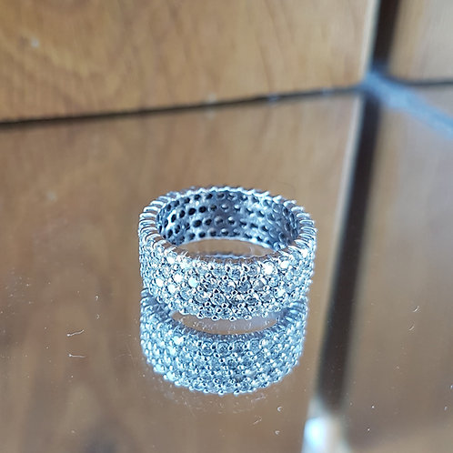 Exquisite Heavy 14ct gold 3.3ct Diamond full eternity ring size N 1/2