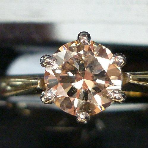 Stunning 18ct gold 1.1ct Brilliant fancy PINKISH Brown solitaire diamond
