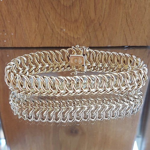 Stunning QUALITY heavy 18ct gold Unique Fancy link bracelet   17.9g  71/2 inches