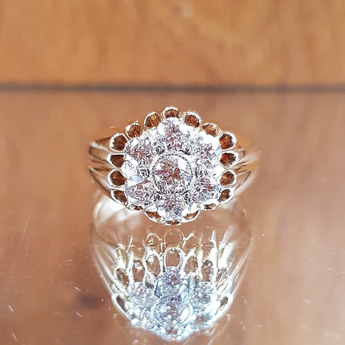 Exquisite Victorian HEAVY 18ct Gold 1.55ct OLD CUT diamond cluster ring