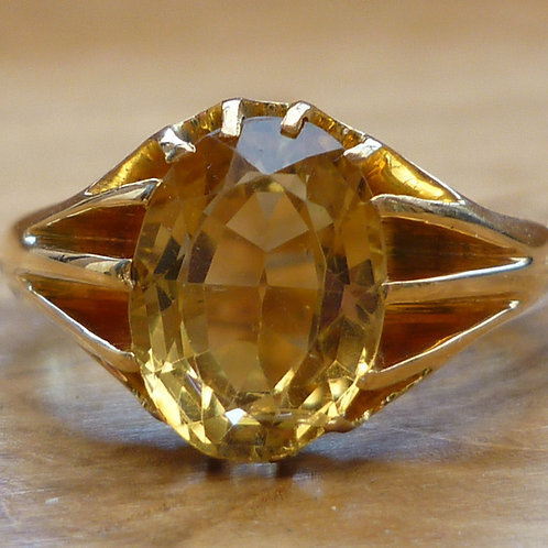 Stunning Victorian C1894 HEAVY 22ct gold 4.07ct Oval Citrine ring HERITAGE PIECE