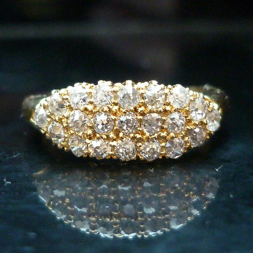 Stunning 18ct gold 1.1ct Edwardian C1911 Old Cut diamond cluster ring