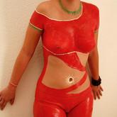 "Chocolate body painting ""Lady in red"""