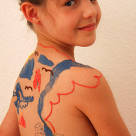Larissa's own painting on her back 1
