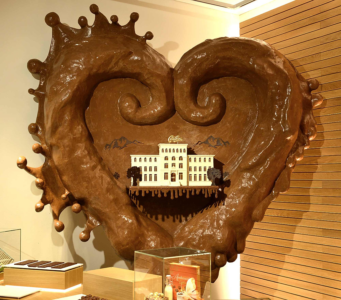 Giant chocolate heart  created by Gerhard Petzl for Cailler, Switzerland.