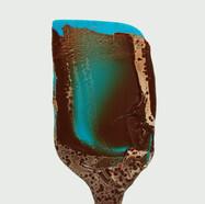 Blaue Schokoladenspachtel