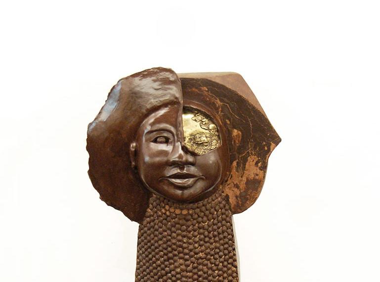 Asian mask- chocolate and bronze sculptu