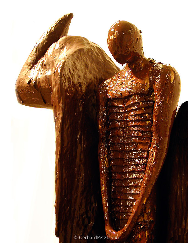 Bronze sculpture and chocolate