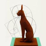 "Chocolate sculpture ""Temple cat"" with Fibonacci-sequences considered"