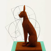 "Chocolate sculpture ""Temple cat"" with Fibonacci-sequences considered"