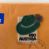 Fabric postage stamp