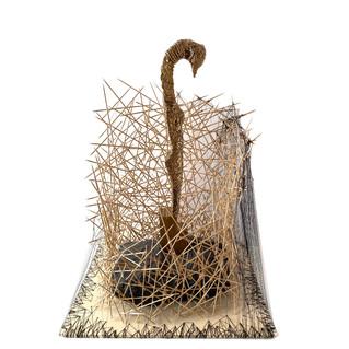 """Installation """"Golden female swan"""""""