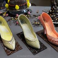 Three fine art chocolate shoes (high heels), 100% edible