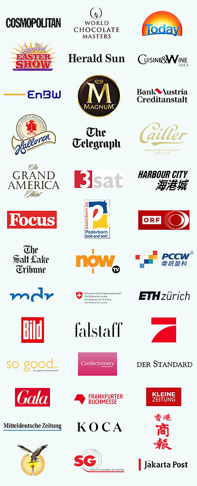 Logos of published companies who have worked with chocolate artist Gerhard Petzl.