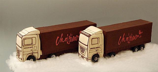 Two customized trucks in chocolate