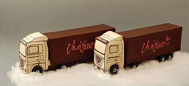 Two customized trucks in chocolate