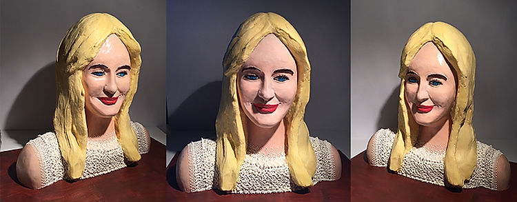 A personalized blonde chocolate bust by artist Gerhard Petzl