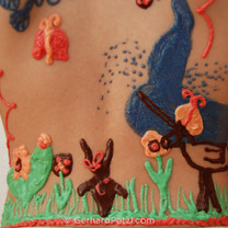 Larissa's own painting on her back 3