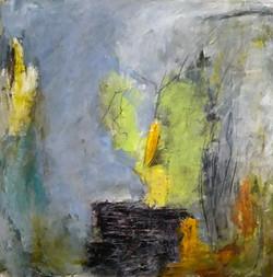 Eclats, acrylique, charcoal, collage, 35x35 cm
