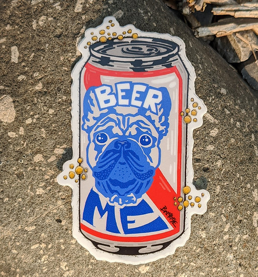 Beer Me Bulldog Sticker
