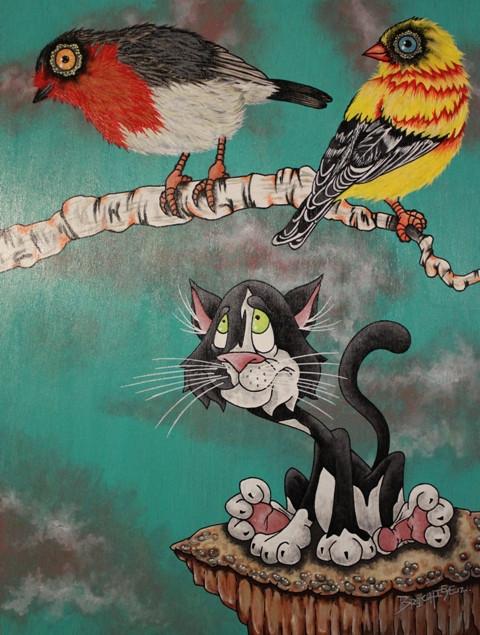 Gary and the Birds - Cartoon style pet portrait