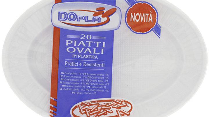 Dopla Einwegteller aus Plastik (oval) | Teller | 20 Stück