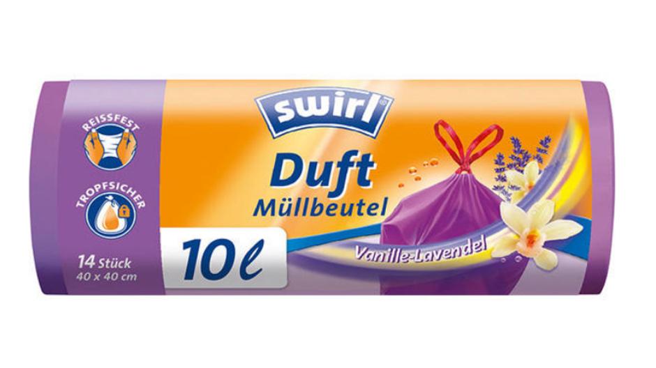 Swirl Duft-Müllbeutel 10 Liter Vanille-Lavendel, mit Zugband, violett/blickdicht