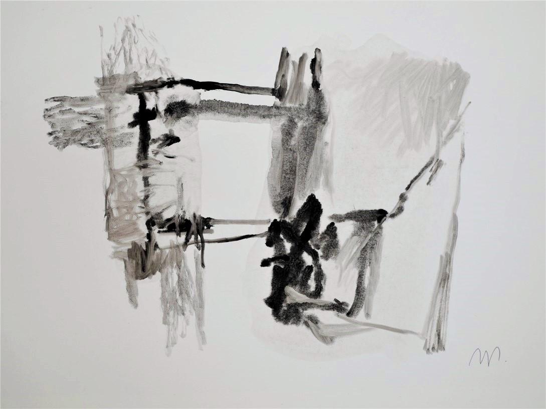 Sana titre, 2019, encre de gravure sur papier 30 x 24 cm.