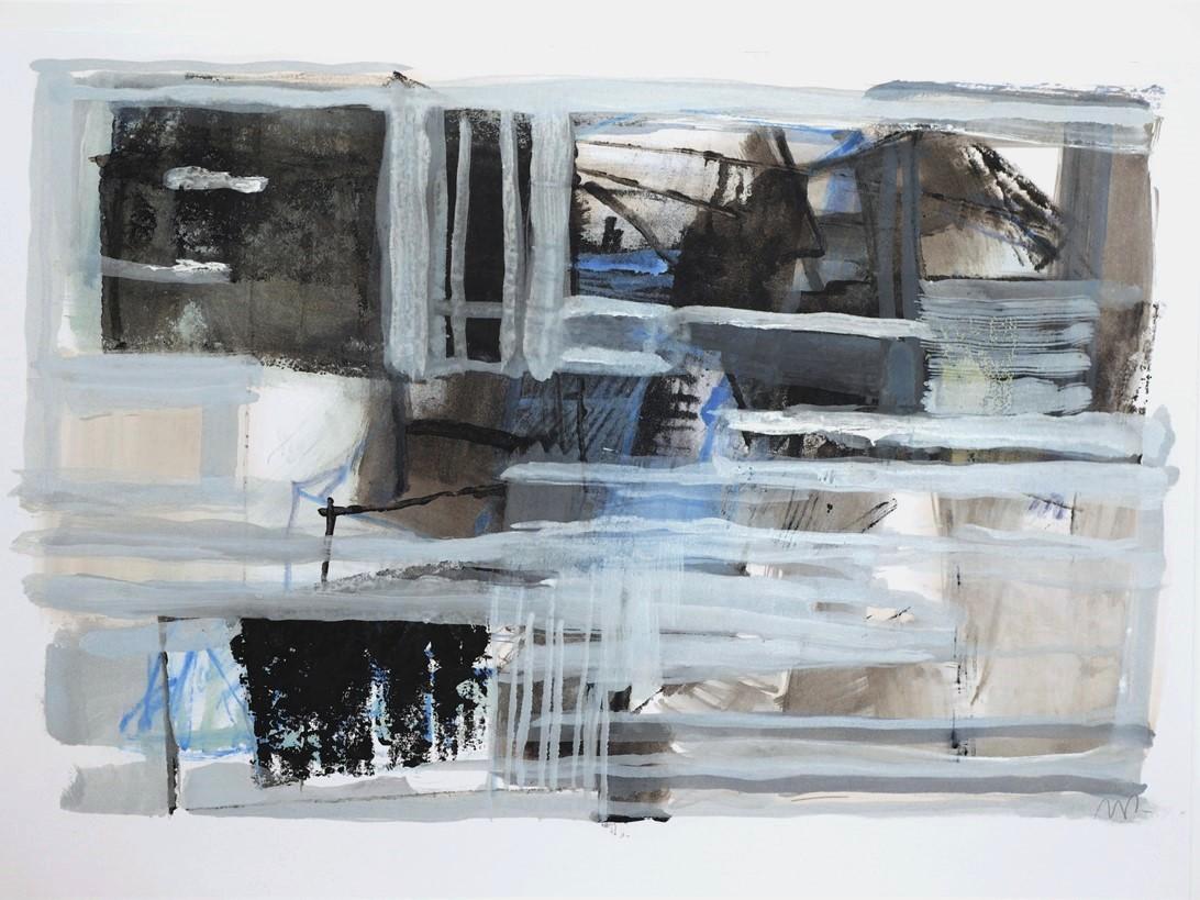 Sans titre,  2019, encre de gravure sur papier 42 x 29,7 cm.