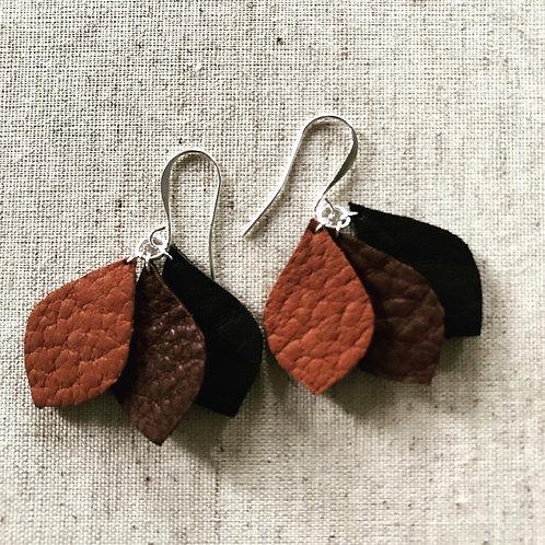Three Leafed Leather Earrings