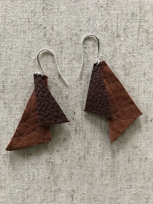 Triangle Leather Earrings - Style 1