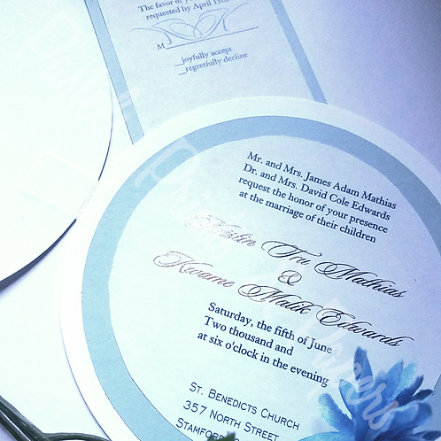 Circle Blue Wedding Invite