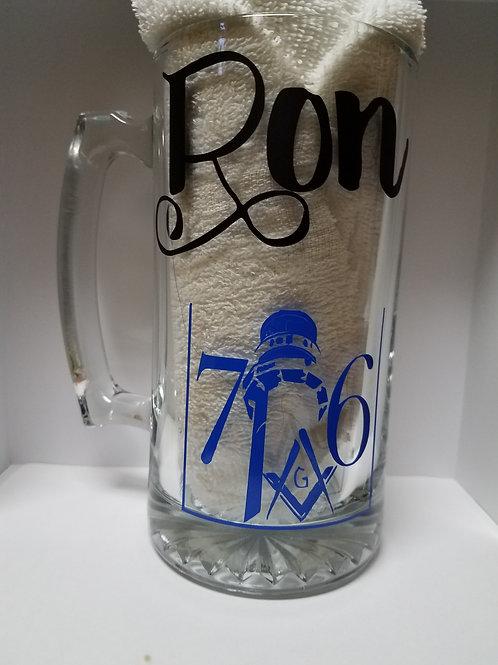 Masonic Glass Beer Mug