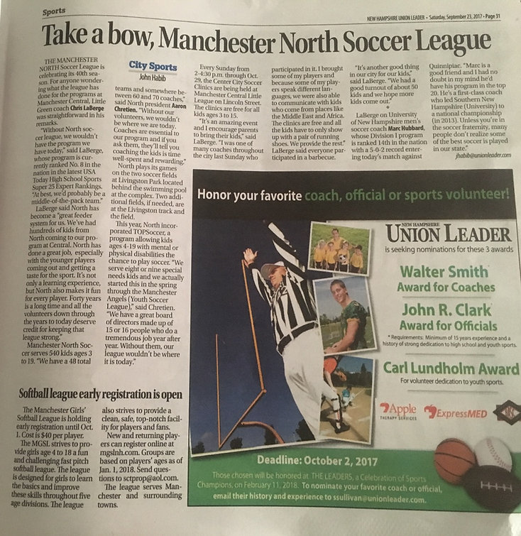 Manchester North Soccer League, Manchester New Hampshire news