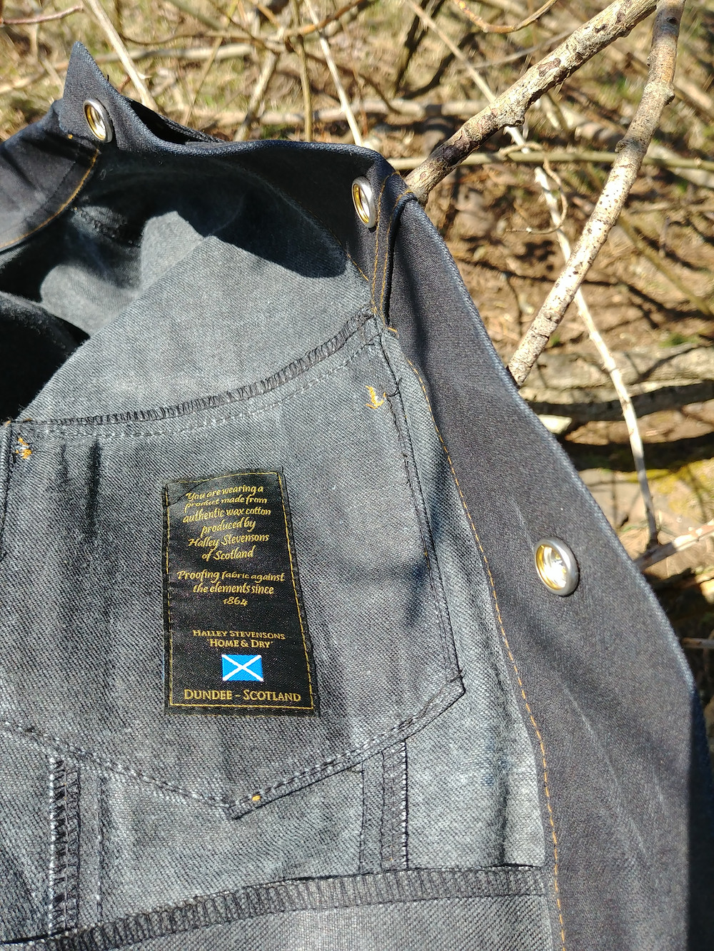 A waxed denim jacket made in Canada by Raised By Wolves. Halley Stevensons of Scotland. Vegan, ethical, and better than faux leather.