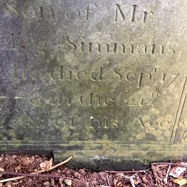 Closeup of Joseph Simmons Stone