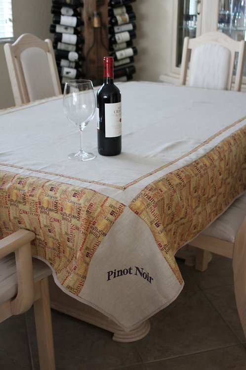 Linen Wine Names Tablecloth