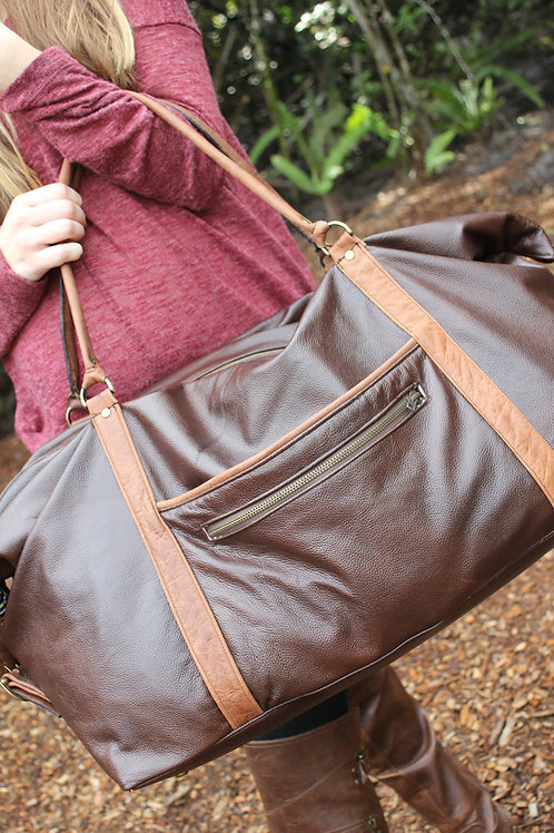 Leather Expandable Luggage Bag