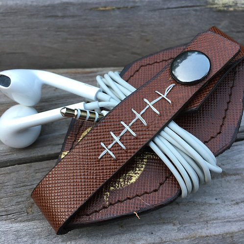 Leather Football Earbud Tech Cord Holder