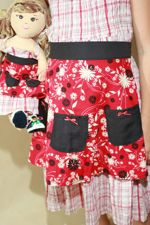 Red Floral Kids Apron and Doll Apron