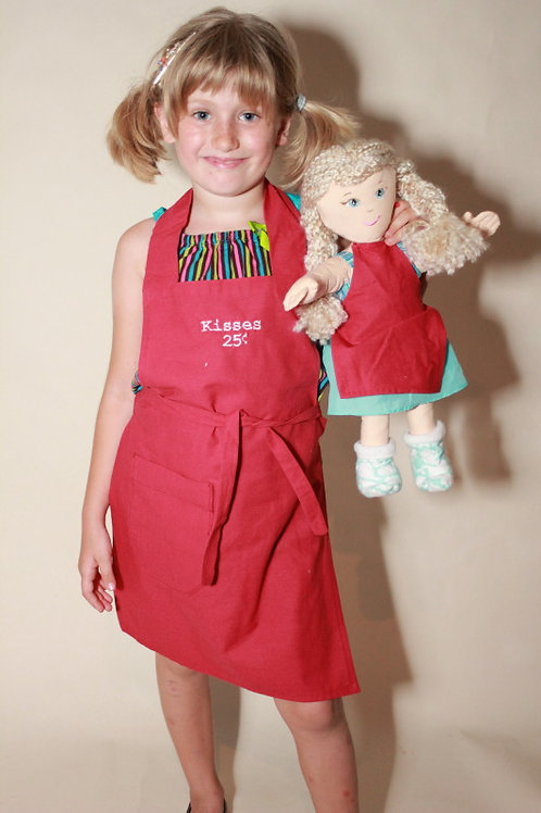 Kisses Apron with Doll Apron